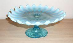 Victorian Davidson Blue Pearline Vaseline Glass Cake Stand Tazza