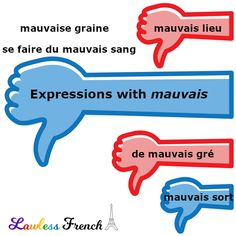 "Versatile #French adjective ""mauvais"" can modify nouns to signifiy weeds, a tight spot, gossipping, and even sulking. #learnfrench #lawlessfrench French Phrases, French Words, Idiomatic Expressions, French Expressions, Teacher Boards, France, Bad Mood, Learn French"