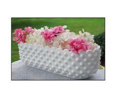 Hobnail Milk Glass Planter ....Pretty way to use this piece...since I have this one.