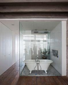vintage bathtub enclosed between glass walls