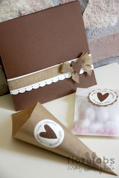 Matrimonio fai da te - Pictures and matching card, favor cone and sweet bag. X