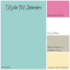 blue green palette with pink, gray and yellow for girls room benjamin moore paint colours