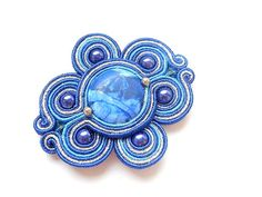 New Price 18USD  Soutache brooch with stone agate, cobalt beads and crystals. Nautical. Cobalt, silver, blue.