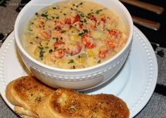 """Cajuns love their seafood. This """"soup for the Cajun soul"""" can be made with crab, shrimp, crawfish, all three or in combination with each other. Most everyone use the term Bisque and Chowder interch… Crawfish Recipes, Chowder Recipes, Cajun Recipes, Seafood Recipes, Soup Recipes, Cooking Recipes, Corn And Crawfish Bisque Recipe, Crab And Corn Bisque, Amigurumi"""