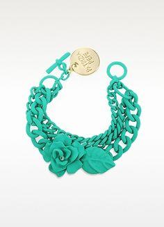 Patrizia Pepe Rhinestone Flower Chain Bracelet