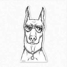 Ace - Doberman Pinscher Dog Decal Sticker, Gifts For Dog Owner, Doberman Lover, Doberman Decal, Doberman Pinscher Art, Dressed Dog Art