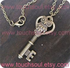 owl heart key necklace  magic harry potter by touchsoul on Etsy