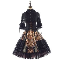 8f46920c93a Classical Lolita black lace dress with waistcoat high quality for adult  women Manluyunxiao