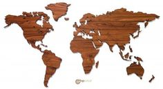 MapaWall wooden world map Palisander country borders