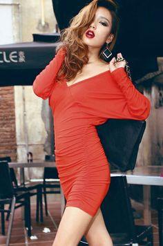 Sexy V-neck Open Back Long Sleeve Dress