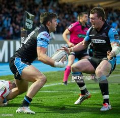 Stuart Hogg celebrates with winning try scorer DTH Van Der Merwe for Glasgow Warriors during the Semi Final between Glasgow and Ulster at Scotstoun Stadium on May 2015 in Glasgow, Scotland. Was at this game just Brilliant . Stuart Hogg, Scottish Rugby, International Rugby, Rugby Men, Beefy Men, Glasgow Scotland, Rugby Players, Semi Final, Scores