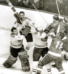 """""Old Time Hockey""Gump Worsley loses his Cool in a mid Canadiens-RedWings game. Hockey Goalie, Hockey Games, San Jose Sharks, Vancouver Canucks, Montreal Canadiens, Nhl, Nascar, Football, Baseball"