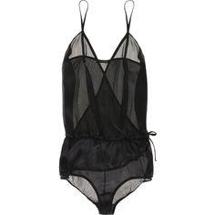 Kiki de Montparnasse Silk wrap teddy ($325) ❤ liked on Polyvore featuring intimates, lingerie, underwear, tops, silk lingerie, teddy lingerie, kiki de montparnasse lingerie and kiki de montparnasse