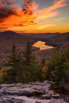 Owls Head sunset over Kettle Pond, Groton State Forest, Vermont