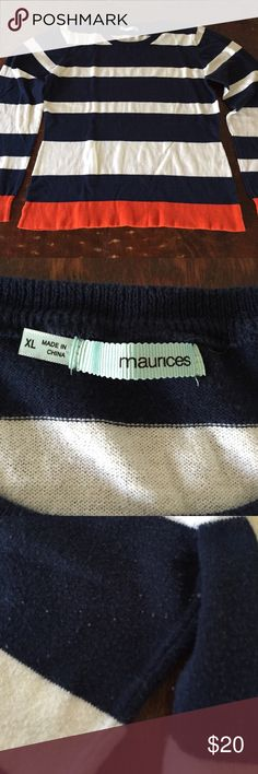 Striped Lightweight Maurices Sweater This sweater from Maurice's is in great condition. It is lightweight and perfect for layering. There is some slight pilling in the underarm area. Comes from a smoke free/feline friendly home. Any questions, just ask. Always open to reasonable offers. Maurices Sweaters Crew & Scoop Necks