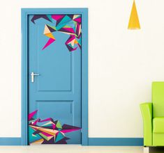 Stickers don't just have to be for your walls! Why not place this funky decal on your doors to create an alternative look. Colourful geometric triangle shapes that form an origami style design. Les Stickers, Door Stickers, Origami Design, Sticker Toilette, Modern Wall Stickers, Bedroom Stickers, Door Murals, Environmental Graphic Design, Deco Originale