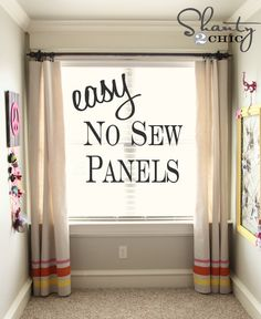 no sew window treatments and how to make the curtain rod.