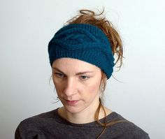 Cable Knitted Headband Ear Warmer Knit Fashion Accessory Hair Band  in  petrol Blue Women's Accessories