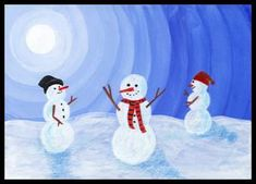 Sněhuláci – malba