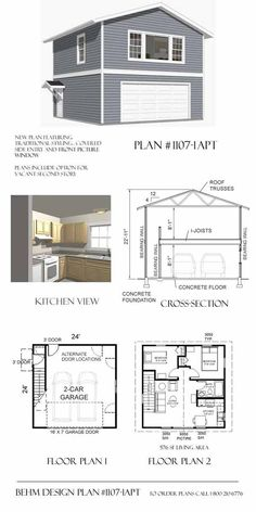 apartment_garage_plans- 1107-1APT By Behm Design Again basic only 24 X 24 and 22something tall.