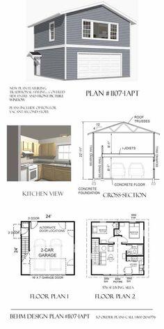 Garage With Apartment Plan 1107-1APT 24' x 24' By Behm Design