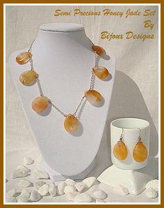 Honey Jade teardrop necklace