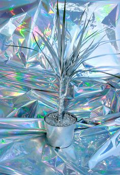 fannyworks: metallic palm on metallic paper