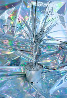 fannyworks: metallic palm on metallic paper