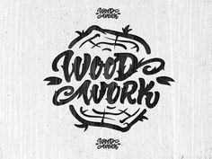 Wood work hand lettering. Cool idea for a logo too. Tree trunk.