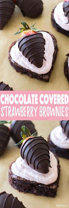 These homemade fudge brownies are topped with homemade strawberry buttercream and chocolate dipped strawberries. It's completely over-the-top and totally worth it. The sweetest Valentine's Day dessert! Chocolate Coated Strawberries, Strawberry Brownies, Strawberry Dip, Strawberry Buttercream, Chocolate Covered, Sweet Desserts, Delicious Desserts, Homemade Fudge Brownies, Cookies