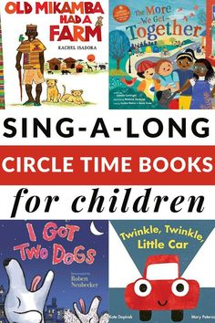 These sing a long books for circle time are great for whole group reads/sings. A perfect book list to engage children with books.  Includes a printable list. #circletime #singalong #booksforkids #GrowingBookbyBook #earlylearning Circle Time Activities, Activities For Boys, Preschool Activities, Preschool Learning, Popular Kids Books, Best Children Books, Childrens Books, Pre-school Books, Long Books