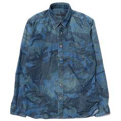 Sophnet Camouflage Denim B.D Shirt (Damaged) Indigo