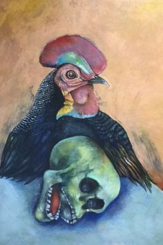 Rooster and Skull © Breyten Breytenbach Rooster, Bb, Skull, Politics, Dreams, Painting, Animals, Image, Design