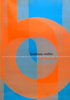 Great use of complementary colours of Blue and Orange. Poster - Bauhaus-Archiv Museum of Design 1996, Doppelpunkt