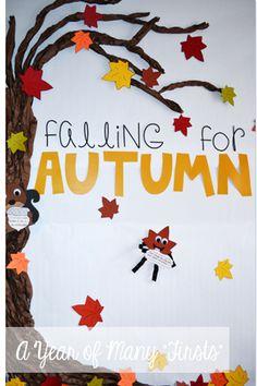 fall bulletin board idea...scrunch paper to create branches