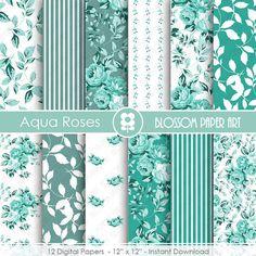 Aqua Floral Scrapbook, DIY, Decor, Aqua Papers, Scrapbooking Papers, Roses, Aqua Roses - INSTANT DOWNLOAD  - 1790