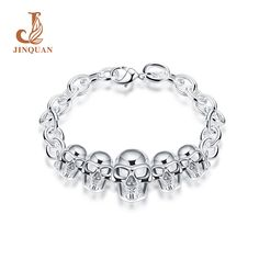 JINQUAN Skull skeleton stretch bracelet for women biker bling bangle Biker Punk jewerly antique silver plated wholesale gifts