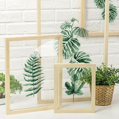 These stylish botanical watercolor prints bring a fresh look to your favorite spaces. Natural pine wood frames Choose from 8 watercolor leaf/fern print designs Frames come in small large and extra-large for a gallery style display