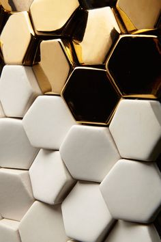 Gold Hexagon Tiles-Giles Miller Surfaces: Alexander Abstract, Metallic and Matt Ceramic Tile Design, Textures Patterns, Print Patterns, Wall Tiles, Mosaic Wall, Surface Design, Surface Pattern, Design Inspiration, Interior Design