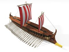 A replica of an Ancient Greek trireme ship, a revolutionary light and speedy ship. Rowers were of working class status.
