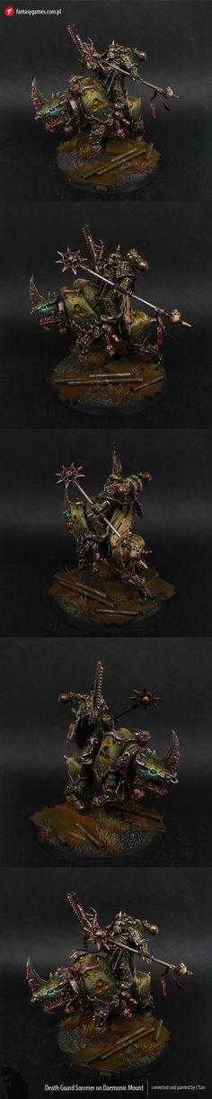 Death Guard Sorcerer on Daemonic Mount (conversion)