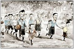 José Nasazzi (Uruguay, 1923–1937, 41 caps, 0 goal) leading his team, at the football final during the 1928 Summer Olympics Games. The same scene viewed by Argentine artist Germán Aczel.