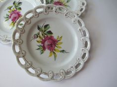 Vintage Victoria Pottery Pink Aqua Rose Lacy Plate by jenscloset Aqua Rose, Shabby Vintage, Vintage China, Gift Tags, Best Gifts, Pottery, Victoria, Etsy Shop, Plates
