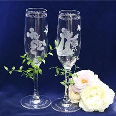 Mikey and Minnie champagne flutes