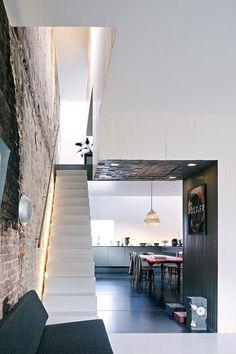 Exposed brick + stair lighting