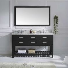"Found it at Wayfair - Caroline Estate 60.8"" Double Bathroom Vanity Set with White Carrara Top and Mirror"