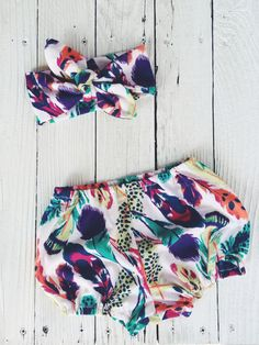 Boho feather print bloomer and head wrap set by Wildheartsco, $26.00