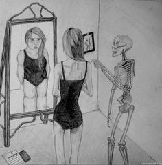 People with eating disorders have a problem relating to their body image. Some people that are a size 3 may see themselves as a size This is the mental process of having a eating disorder.