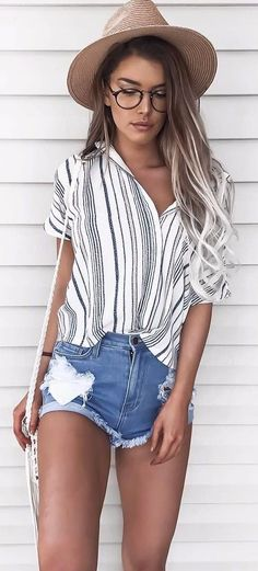 Fashion Outfits: gypsy fashion / stripped shirt   shorts