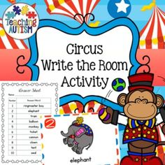 Circus Themed Write the RoomThis activity includes 20 different write the room flashcards. All images and vocabulary are linked to the theme of the Circus.This come with 2 levels of difficulty. Students can either use flashcards 1-10 or 1-20, depending upon which you think is most suitable to your students.There are 2 different recording sheets to accommodate the 2 different levels.